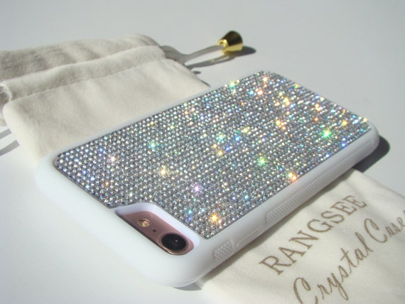 iPhone 8 Case / iPhone 7 Case Clear Diamond  Rhinestone Crystals on  White Rubber . Velvet/Silk Pouch Bag Included,
