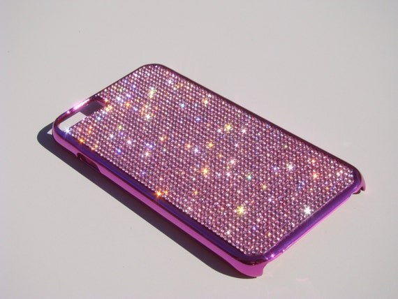 """iPhone 6 / 6s 4.7"""" Pink Diamond Rhinestone Crystals on Pink Chrome Case. Velvet/Silk Pouch Bag Included, Genuine Rangsee Crystal Cases."""