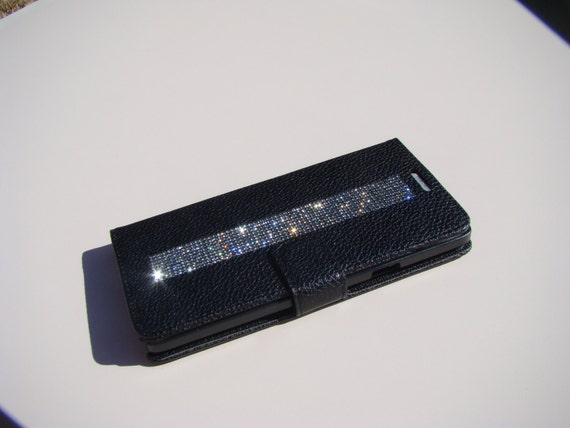 Galaxy Note 4 Black Diamond Crystals on Black Wallet Case. Velvet/Silk Pouch bag Included, Genuine Rangsee Crystal Cases.