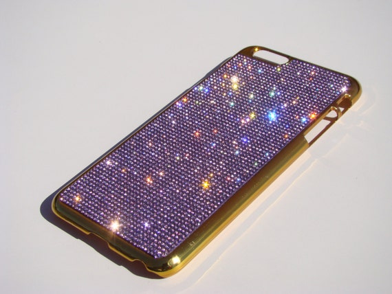 iPhone 6 Plus / 6s Plus Purple Amethyst Diamond Crystals on Gold-Bronze Chrome Case. VelvetPouch Included, Genuine Rangsee Crystal Cases.