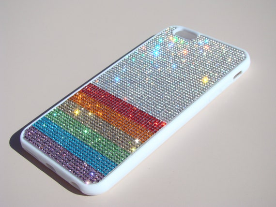 "iPhone 6 Plus / 6s Plus Rainbow "" PRIDE "" Crystals on White Rubber Case. Velvet/Silk Pouch Bag Included, Genuine Rangsee Crystal Cases"