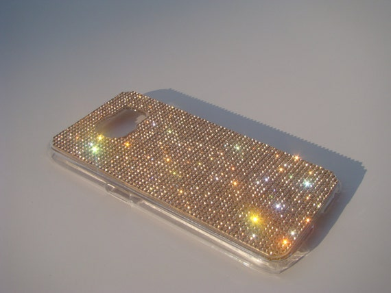 Galaxy S6 Rose Gold Crystals on Transparent Case. Velvet/Silk Pouch Bag Included, Genuine Rangsee Crystal Cases.