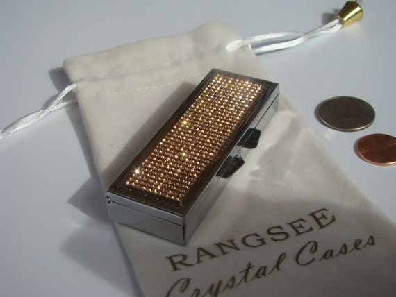 Pill Case 6 slots , Pill Container, Pill Box with Rose Gold Rhinestone Crystals, Silk/Velvet bag incluede. Genuine Rangess Crystal Cases
