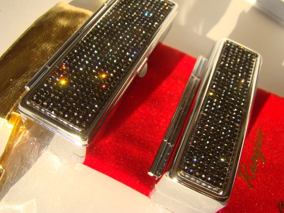 Lipstick Case with Mirror, Lipstick Box, Lipstick Holder, Black Diamond Rhinestone Crystals,  This listing are for one (1) case