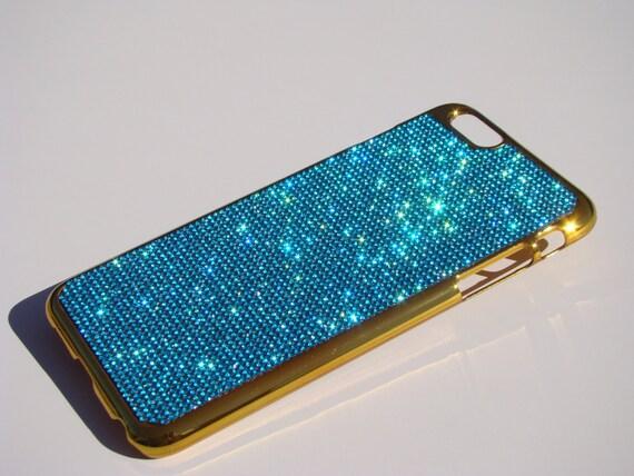 """iPhone 6 Plus 5.5"""" / 6s Plus 5.5"""" Aquamarine Blue Rhinestone Crystals on Gold-Bronze Case, iPhone 6 Plus Aquamarine RangseeCrystalCases"""