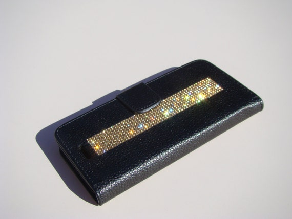 iPhone 8 Wallet / iPhone 7 Wallet Gold Topaz Diamond Rhinestone Crystals on Black Wallet Case. Velvet/Silk Pouch bag Included, .