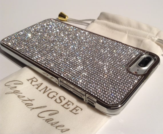 iPhone 8 Plus Case / iPhone 7 Plus Case Clear Diamond Rhinestone Crystals on Silver Chrome Case. Velvet Pouch Included,