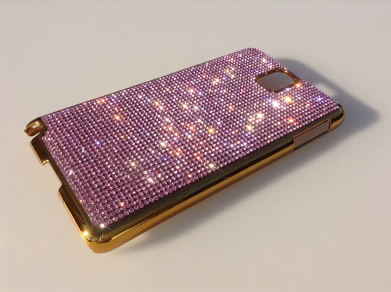 Galaxy Note 3 Pink Diamond Crystals on Gold-Bronze Electro Plated Plastic Case. Velvet/Silk Pouch Included, Genuine Rangsee Crystal Cases.