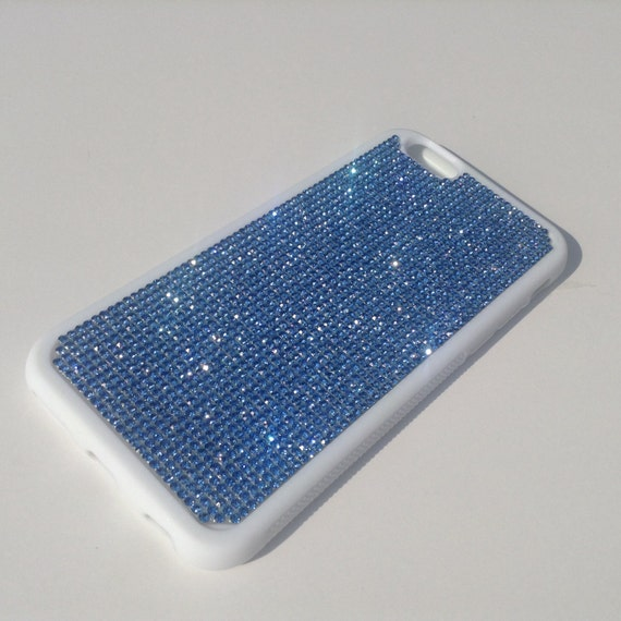 "iPhone 6 / 6s 4.7"" Blue Sapphire Rhinestone Crystals on White Rubber Case. Velvet/Silk Pouch Bag Included, Genuine Rangsee Crystal Cases"