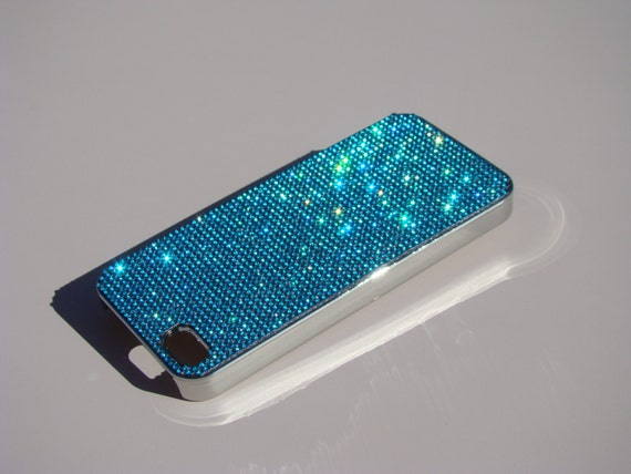 iPhone 5 / 5s /5se Aquamarine Blue Rhinestone Crystals on Silver Chrom Case. Velvet/Silk Pouch Bag Included, Genuine Rangsee Crystal Cases.