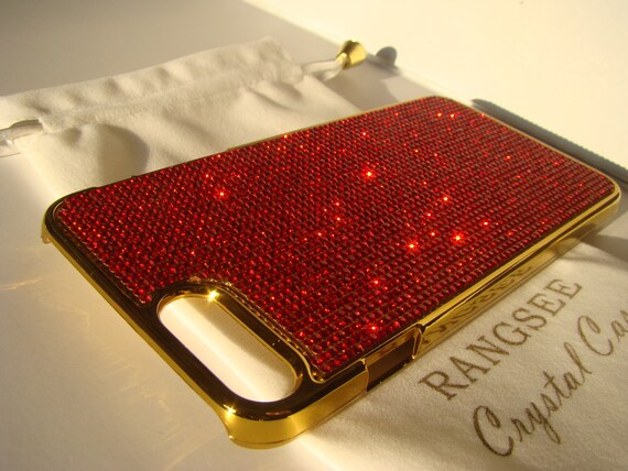 "iPhone 8 plus case / iPhone 7 plus Case Red Siam "" Gold Edition ""  Rhinestone Crystals on Gold Chrome Case. Velvet Pouch Included,"