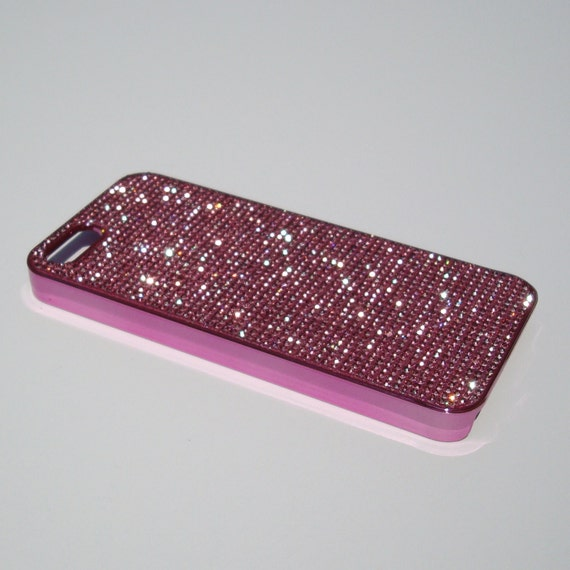 iPhone 5 / 5s / 5se Pink Diamond Rhinestone Crystals on Pink Chrome Case. Velvet/Silk Pouch Bag Included, Genuine Rangsee Crystal Cases.
