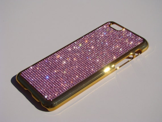 iPhone 6 / 6s  4.7 Pink Diamond Rhinstone Crystals on Gold-Bronze Chrome Case. Velvet/Silk Pouch Included, Genuine Rangsee Crystal Cases.
