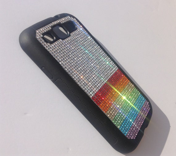 "Galaxy S3 Rainbow "" PRIDE "" Rhinestone Crystals on Black Rubber Case. Velvet/Silk Pouch Bag Included, Genuine Rangsee Crystal Cases"