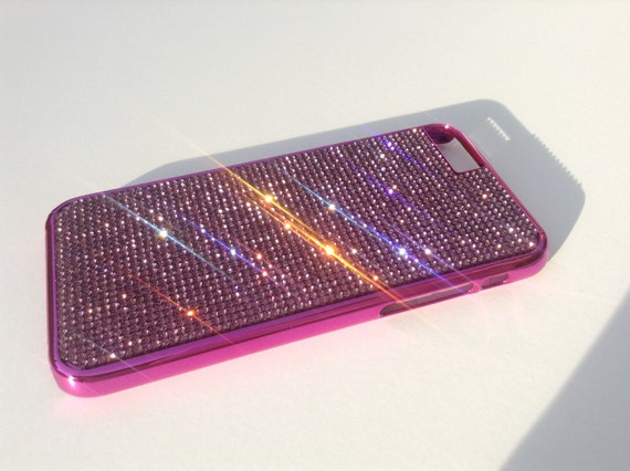 """iPhone 6 / 6s  4.7"""" Purple Rhinestone Crystals on Pink Chrome Case. Velvet/Silk Pouch Bag Included, Genuine Rangsee Crystal Cases."""