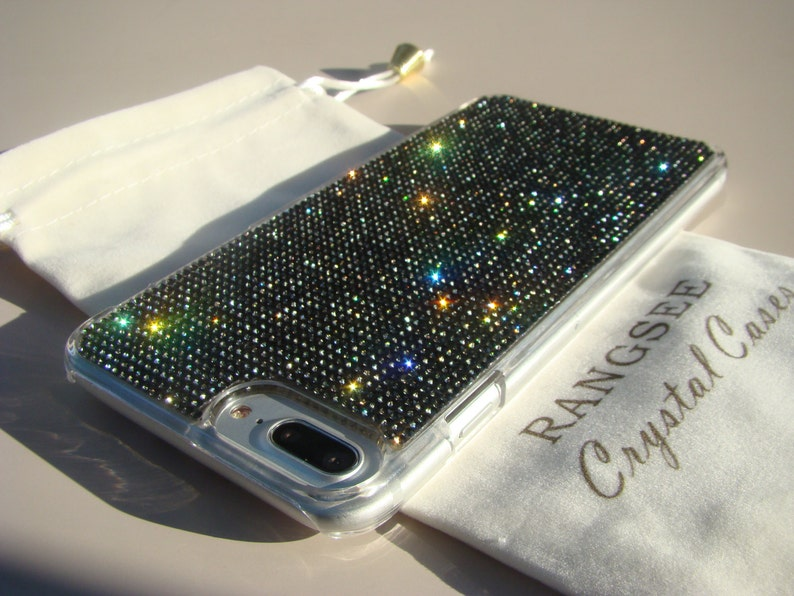new styles 47925 6fd37 iPhone 8 Plus Case / iPhone 7 Plus Case Black Diamond Rhinestone Crystals  on Transparent Clear Case. Velvet Pouch Included,