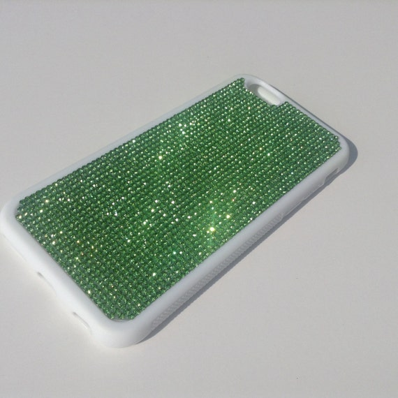"iPhone 6 / 6s 4.7"" Green Peridot Crystals on White  Rubber Case. Velvet/Silk Pouch Bag Included, Genuine Rangsee Crystal Cases."