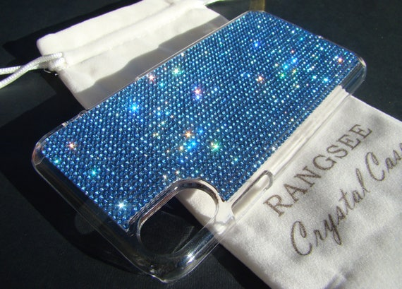 iPhone Xs  Case Blue Sapphire Crystals on Transparent Clear iPhone Xs  Case. Velvet Pouch Included,