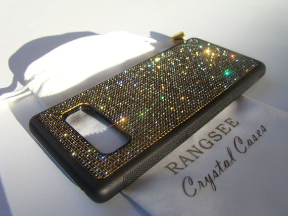 "Galaxy Note 8 Black Diamond Rhinestone Crystal ""Gold Edition"" on Black Rubber Velvet/Silk Pouch Bag Included, Genuine Rangsee Crystal Cases."