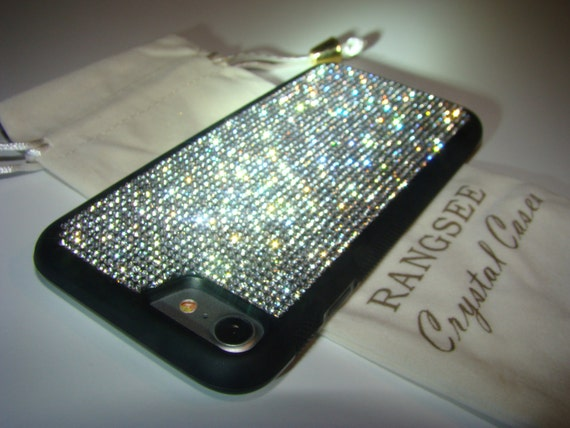 iPhone 8 Case / iPhone 7 Case Clear Diamond Rhinestone Crystals on  Black Rubber Case. Velvet/Silk Pouch Bag Included,