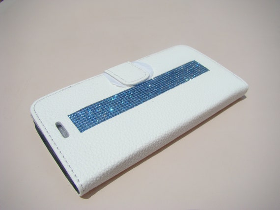 iPhone 6 Plus/ 6s Plus Blue Sapphire Rhinestone Crystal, White Wallet Case. Velvet/Silk Pouch bag Included, .