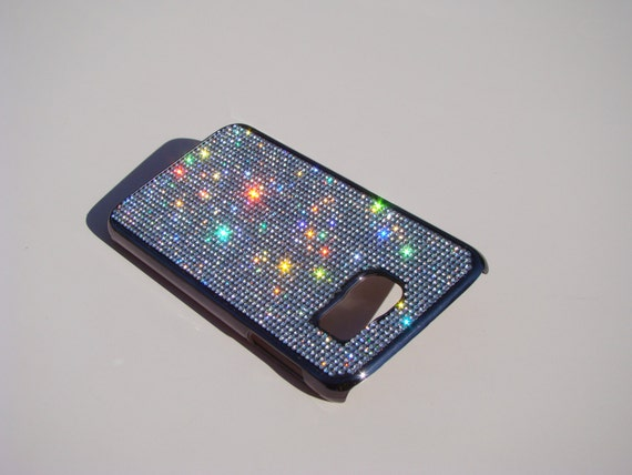 Galaxy S6 Clear Diamond Crystals on Black/brown Chrome Case. Velvet/Silk Pouch Bag Included, Genuine Rangsee Crystal Cases.