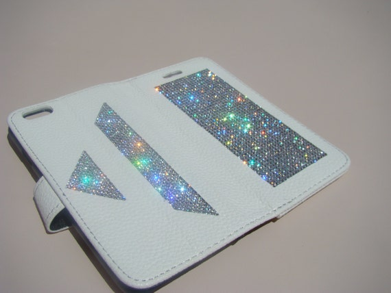 "iPhone 6 / 6s 4.7"" Clear Diamond Crystals on White Wallet Case Art Pyramide. Velvet/Silk Pouch bag Included, Genuine Rangsee Crystal Cases."