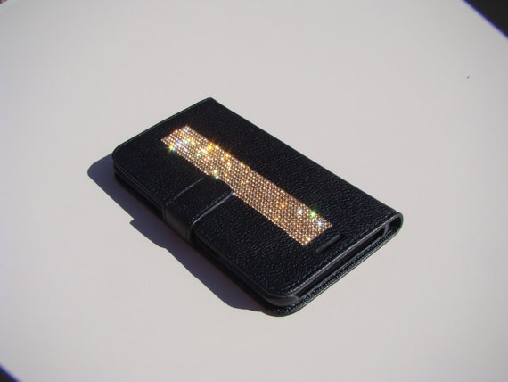 """Galaxy S6  """" Edge Plus"""" Rose Gold Rhinestone Crystals on Black Wallet Case. Velvet/Silk Pouch bag Included, Genuine Rangsee Crystal Cases."""