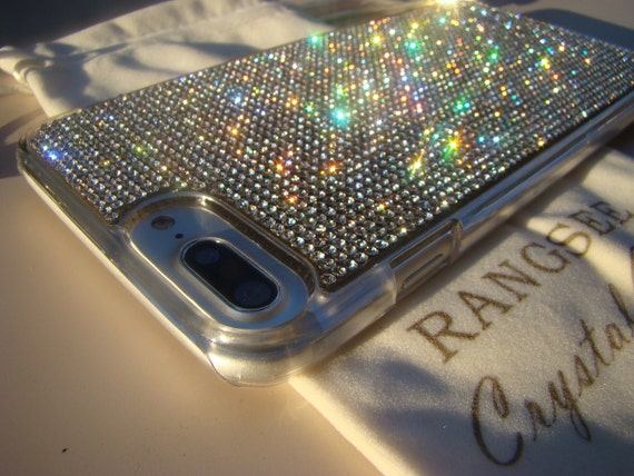 iPhone 8 Plus Case / iPhone 7 Plus Case Clear Diamond Rhinestone Crystals on Transparent Clear Case. Velvet Pouch Included,
