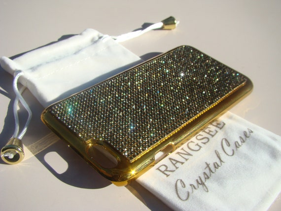 "iPhone 6 / 6s Case Black Diamond Rhinstone Crystals on iPhone 6 / 6s Gold Chrome Case. "" Gold Edition"" , Genuine Rangsee Crystal Cases."