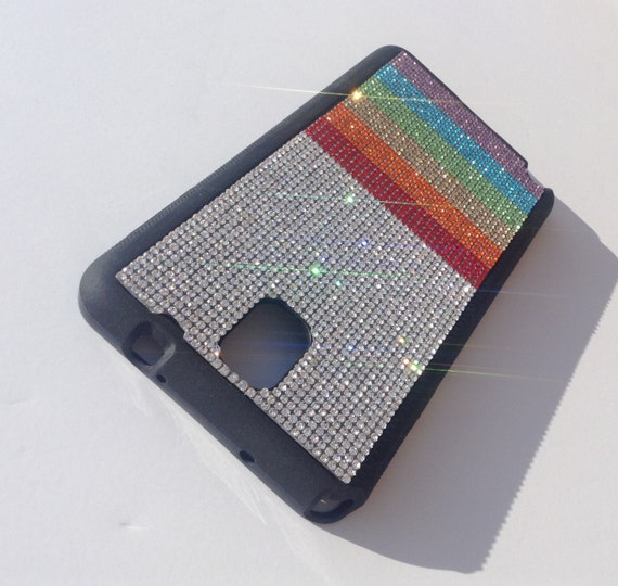 "Galaxy Note 3 Rainbow "" PRIDE "" Rhinestone Crystals on Black Rubber Case. Velvet/Silk Pouch Bag Included, Genuine Rangsee Crystal Cases"