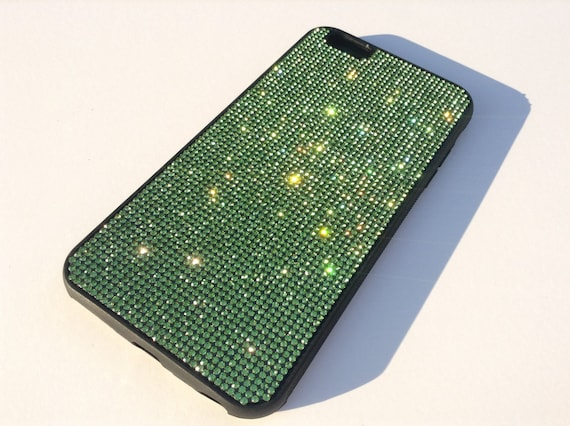 iPhone 6 Plus Case / iPhone 6s Plus Case  Peridot Green Diamond Crystals on Black Rubber Case. Velvet/Silk Pouch Bag Included,