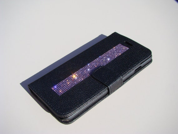 iPhone 6 Plus Wallet Case / iPhone 6s Plus Wallet Purple Amethyst Diamond Crystals o Black Wallet Case. Velvet/Silk Pouch bag Included, .