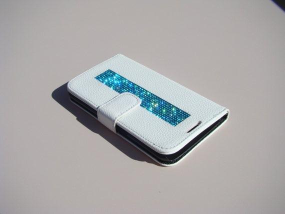 "Samsung Galaxy S6  "" Edge "" Aquamarine Blue Rhinestone on White Wallet Case. Velvet/Silk Pouch bag Included, Genuine Rangsee Crystal Cases."