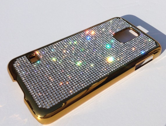Galaxy S5 Clear Diamond Crystals on Gold-Bronze Electro Plated Plastic Case. Velvet/Silk Pouch Bag Included, Genuine Rangsee Crystal Cases