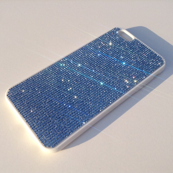 iPhone 6 Plus Case / iPhone 6s Plus Case  Blue Sapphire Rhinestone Crystals White Rubber Case. Velvet/Silk Pouch Bag Included,