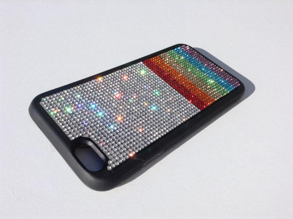 "iPhone 6 / 6s  4.7"" Rainbow  "" PRIDE "" Rhinestone Crystals Black Rubber Case. Velvet/Silk Pouch Bag Included, Genuine Rangsee Crystal Cases"