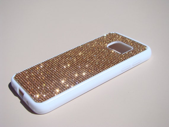 Galaxy S7 Case Rose Gold Diamond Crystals on White Rubber Case. Velvet/Silk Pouch Bag Included, Genuine Rangsee Crystal Cases.
