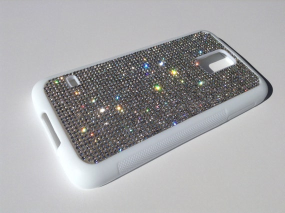 Galaxy S5 Clear Diamond Crystals on White Rubber Plated Plastic Case. Velvet/Silk Pouch Bag Included, Genuine Rangsee Crystal Cases