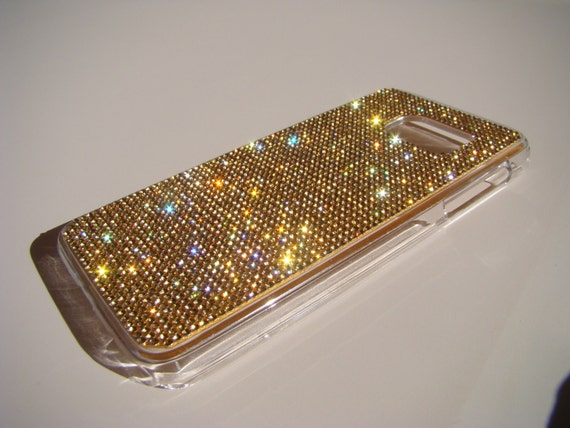 Galaxy S7 Case Gold Topaz Crystals on Transparent Case. Velvet/Silk Pouch Bag Included, Genuine Rangsee Crystal Cases.
