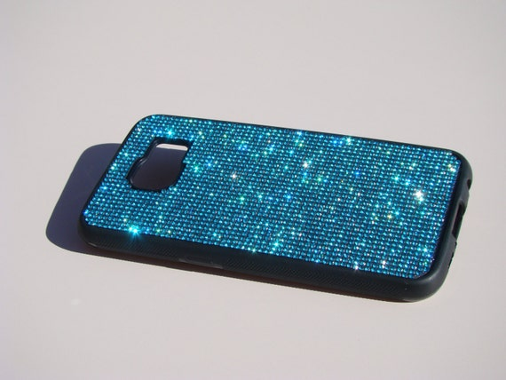 Samsung Galaxy S6 Aquamarine Blue Rhinestone Crystals on Black Rubber Case. Velvet/Silk Pouch Bag Included, Genuine Rangsee Crystal Cases.