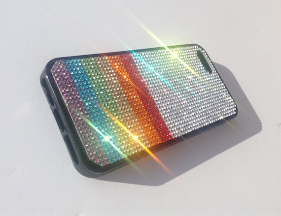 """iPhone 5 / 5s/5se Rainbow  """" PRIDE """" Rhinestone Crystals on Black Rubber Case. Velvet/Silk Pouch Bag Included, Genuine Rangsee Crystal Cases"""