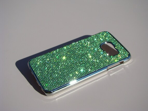 Galaxy S6 Green Peridot  Rhinestone Crystals on Silver Chrome Case. Velvet/Silk Pouch Bag Included, Genuine Rangsee Crystal Cases