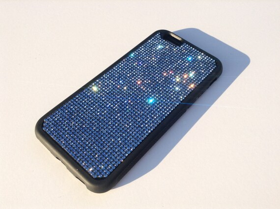 "iPhone 6 / 6s 4.7"" Blue Sapphire Rhinestone Crystals on Black Rubber Case. Velvet/Silk Pouch Bag Included, Genuine Rangsee Crystal Cases."
