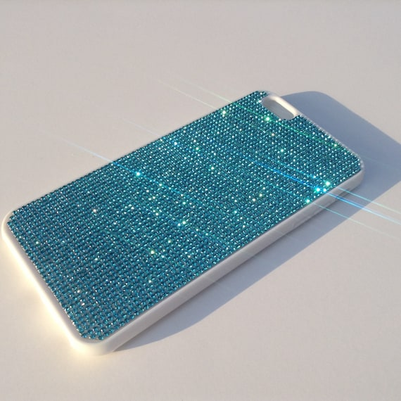 iPhone 6 Plus / iPhone 6s Plus Aquamarine Blue Crystal White Rubber case iPhone 6 Plus Bling Cover Velvet/Silk Pouch Bag Included