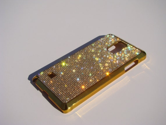 Galaxy Note 4 Gold Topaz Rhinestone Crystals on Gold-Bronze Chrome Case. Velvet/Silk Pouch Bag Included Genuine Rangsee Crystal Cases