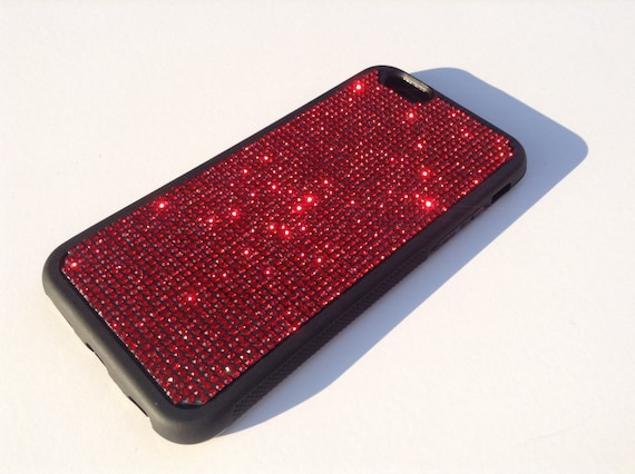"iPhone 6 / 6s 4.7"" Siam Red Diamond Rhinestone Crystals on Black Rubber Case. Velvet/Silk Pouch Bag Included, Genuine Rangsee Crystal Cases"