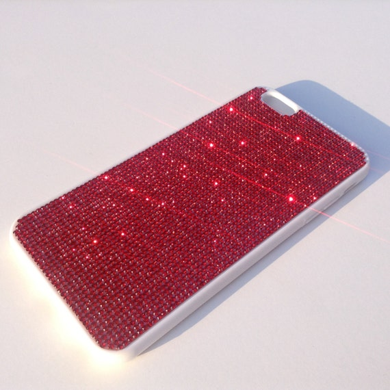 iPhone 6 Plus Case / iPhone 6s Plus Case  Siam Red Diamond Crystals on White Rubber Case. Velvet/Silk Pouch Bag Included,