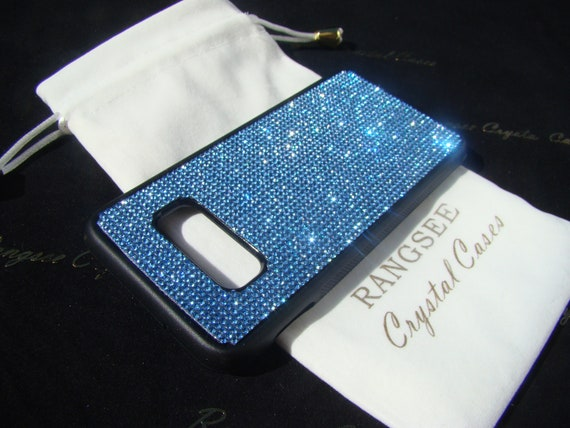 Galaxy S10e, Blue Sapphire Rhinestone Crystals on Black TPU Rubber Case. 14 crystal Colors avalible.
