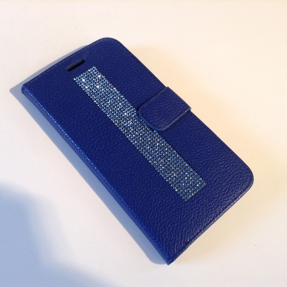 iPhone 6 Plus / iPhone 6s Plus Blue Sapphire Crystals on Blue Wallet Case. Velvet/Silk Pouch bag Included, .